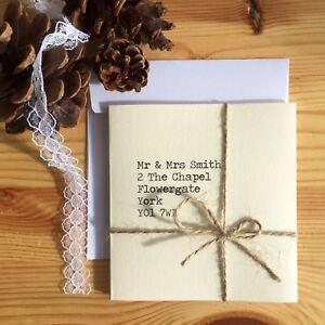 Wedding invitation handmade personalised ivory DIY lace jute rustic typewriter