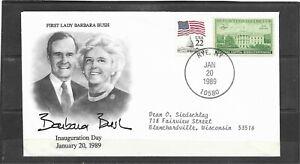 1989 US Inauguration Cover First Lady Barbara Bush Addressed Rye, New York