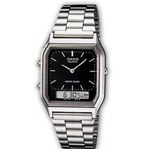 AQ-230A-1D Casio Watch Dual Time Silver Analog Digital Steel Band. Black Dial