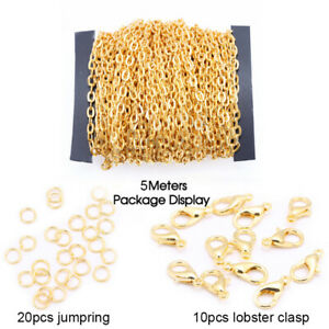 5M 2mm Chains Lobster Clasp DIY Bracelet Necklace Jewelry Making Materials  .ar