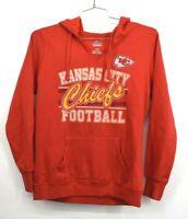 Majestic Womens Kansas City Chiefs V Neck Drawstring Hoodie Cotton Size Small