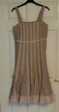 Fenn Wright Manson Linen Strappy Lined Beige Dress UK Sz 14 Petite