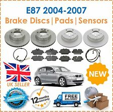 For BMW E87 116i 118i 118D 04-07 Front & Rear Brake Discs & Pads Set + Sensors