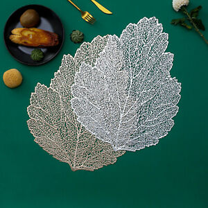 Placemats Set of 4 Hollow Table Mat Leaf Shape PVC Heat Insulation Waterproof