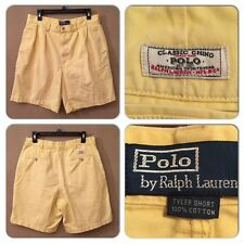 EXC COND POLO RALPH LAUREN MENS 32 CLASSIC CHINO TYLER PLEATED YELLOW SHORTS