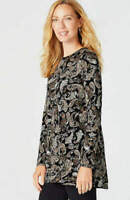 NEW J. JILL M L XL L/S Shirred-back Knit Top Tunic Cotton Paisley Beige Black