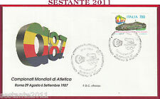 ITALIA FDC ROMA MONDIALI ATLETICA LEGGERA OLIMPHILEX '87 1987 ROMA FIL. Y202