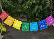 Healing Prayer Flags with art of a Lotus and messages in each Flag