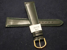 New Made in France Green Genuine Leather 20mm Watch Band Gold Tone Buckle $14.95