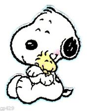 "2"" BABY SNOOPY  & WOODSTOCK MINI CHARACTER  FABRIC APPLIQUE IRON ON"