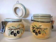 LOT DE 2 pots à épices de cuisines décorés d'olives 14X12