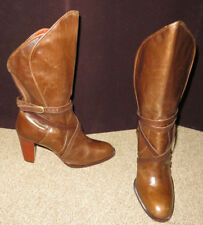 Yves Saint Laurent 7 M Brown boots VINTAGE 70s 80s leather BOHO narrow stacked 6