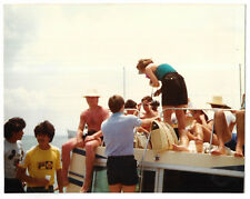 Vintage 80s PHOTO Group People On Boat At Ocean, Woman w/ Camera
