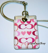 NEW COACH Peyton Heart Signature C Lanyard ID Badge Card Holder Pink Gold