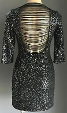OMG!! Chic Black & Silver Sequin SAINT SHYLO Open Back Mini Dress Size M 8/10
