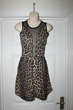 Ladies Sexy Animal Print Dress Size 6 Miso Slinky Mesh Panels Party