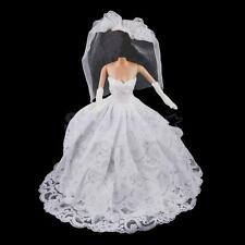 5-layer White Bride Wedding Dress w/ Veil Outfit for Barbie Dolls Clothes