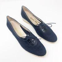 Salvatore Ferragamo Womens Espadrille Flat Shoes Blue Wedge Vtg Lace Up 6 M