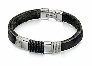 Fred Bennett Stainless Steel Black & Grey Cord Double Row Leather Bracelet 22cm
