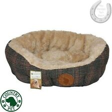 Country Pet Luxury Tweed Dog Bed – Faux Sheepskin – XS, S, M, XL, Anti Slip Base