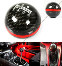 M10 X 1.25 ROUND CARBON FIBER MUGEN MANUAL 6 SPEED SHIFT KNOB RED STRIP FOR KIA