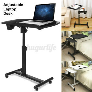 Rolling Laptop Desk Bed Height Angle Adjustable Portable Computer Table Stand C