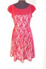Julian Taylor 8P Red Lace Fit Flare Dress Chiffon Lace Nude A Line
