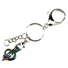 YC696 Multi Color Cat Footprint Heart Beads Cage Locket Key Ring Charms Keychain