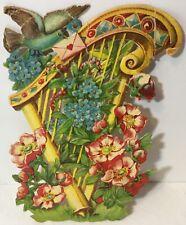 Vtg Valentines Day Die Cut Embossed Scrap Harp Flowers Bluebirds With Letter
