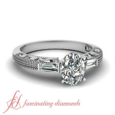 .65 Ct Oval Shaped & Baguette Diamond Vintage Milgrain Engagement Ring SI1 GIA
