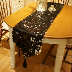 1PC Cushion Cover Or Table Runner Sequins Satin Black Luxury Wedding Party Home