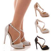 Ladies Women's Glitter High Heels Bridal Prom Wedding Peep Toe Shoes Size