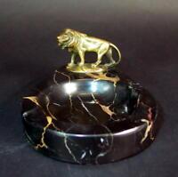 zierlicher Ascher - Marmorschale  & Bronze Löwe