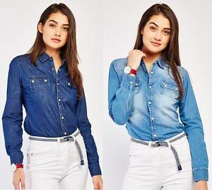 Ladies Casual Womens Button Up 100% Cotton Long Sleeve Blue Denim Shirt