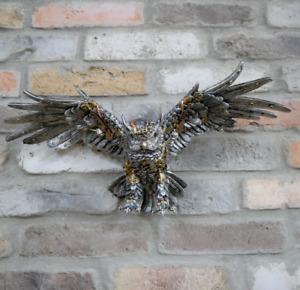 Steampunk Owl Wall Hanging Bird Figure Mounted Art Sculpture Metallics Ornament