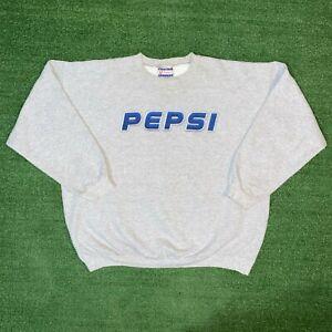 Vintage Hanes Ultimate Printpro Pepsi Gray Crewneck Sweatshirt - L