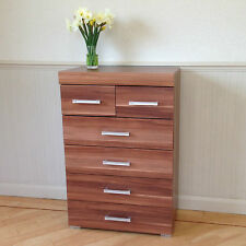 Chest of 4+2 Drawers in Walnut Effect Bedroom Furniture Modern 6 Drawer * NEW *