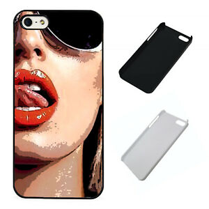 Licking Lips Sexy Sunglasses plastic phone case Fits iPhone