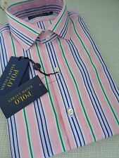 BNWT Polo Ralph Lauren Pink Green Stripe Dress Shirt size 15