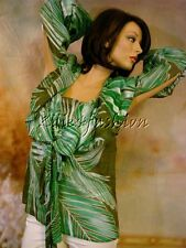 $2850 New GUCCI Embroidered Green White Fern Leaf Tie Tunic Shirt Top 4 38