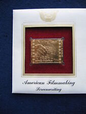 2003 American Filmmaking Screenwriting Replica FDC 22kt Gold Golden Cover Stamp