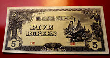 1942 to 1945 Burmese Japanese Occupation 5 Rupee Note 3x6 Au Crisp and Sharp!