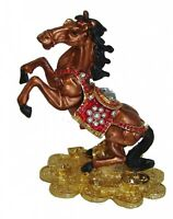 Feng Shui Bejeweled Cloisonne Brown Windhorse Statue