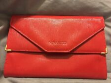 💋 Nina Ricci Made In Italy Red Textured Leather Envelope Clutch Wallet 💋