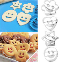 4x Emoji Stainless Steel Cookie Cutter Mold Biscuit Cake Baking Mold Decor Tool
