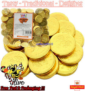 1 - 1000 Large Milk Chocolate Gold Foiled MONEY COINS Party Bag Wedding Favours