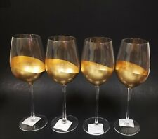 NEW 4 PC SET METALLIC SOLID GOLD & CLEAR WINE GLASS,GOBLET,GLASSES