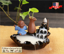 Ceramic Backflow Incense Cones Burner Lotus Waterfall & Mond 168 & 10 Cones Gift