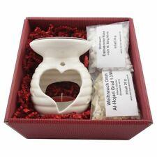 Geschenkset Räucherstövchen Keramik HERZ mit Metallsieb und Metallscheibe