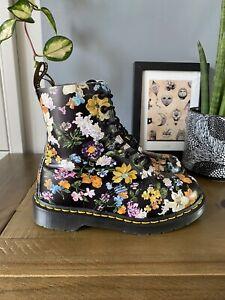 Dr Marten 1460 Pascal Darcy Floral Black Leather 8 Eyelet Boots Size UK 4 EU 37
